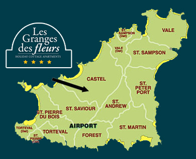 Directions from Guernsey Airport to Les Granges des Fleurs holiday